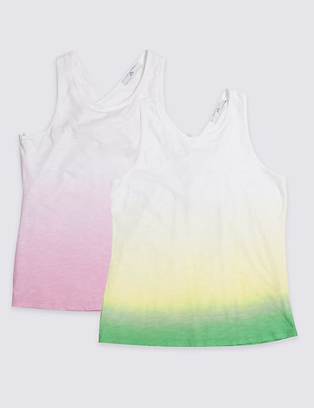 2 Pack Pure Cotton Dip Dye Vest Tops (3-16 Years)