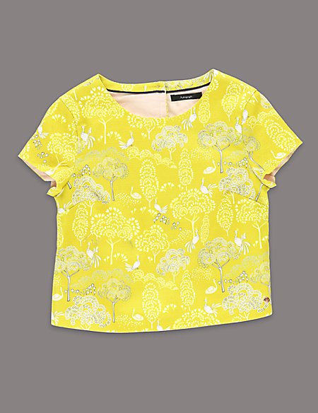 Louise Wilkinson Cotton Rich Tree & Peacock Print Top (5-14 Years)