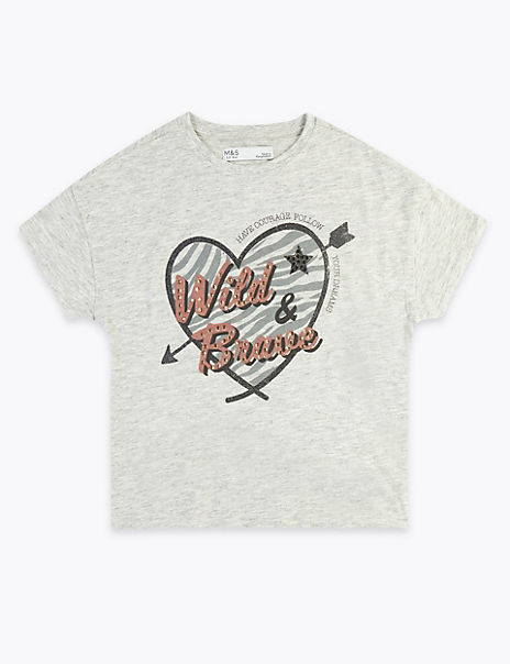 Wild & Brave Slogan T-Shirt (3-16 Years)