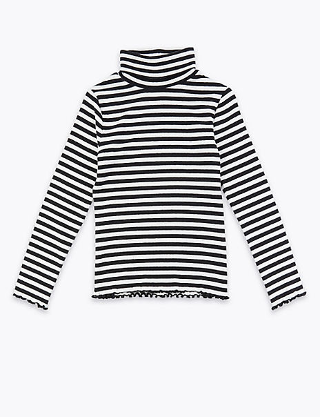 Cotton Striped Roll Neck Top (3-16 Years)
