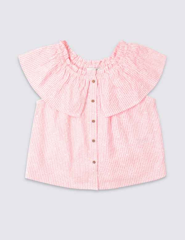 afeb3d89552 Cotton Rich Frill Bardot Top (3-16 Years)