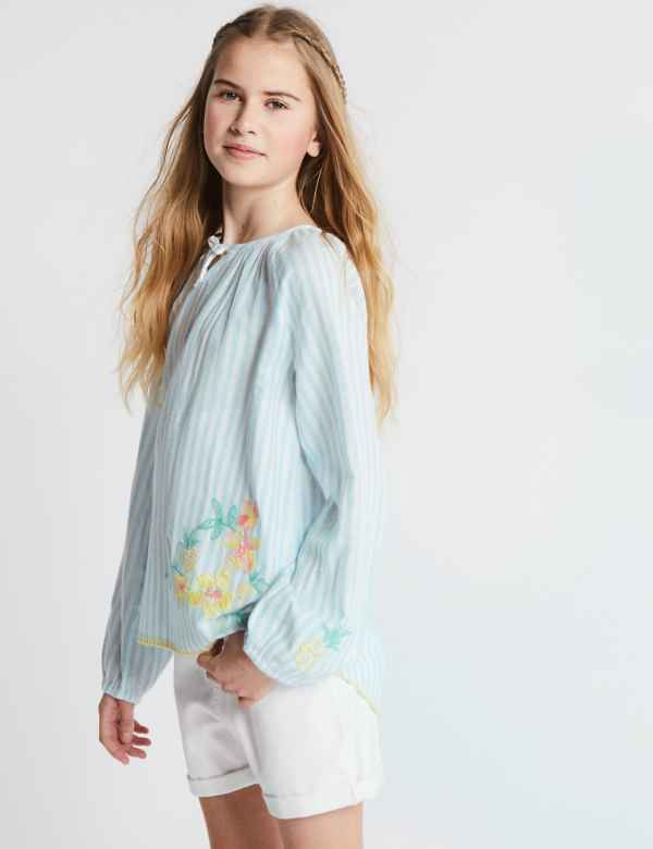 2dbb597ceefb67 Cotton Rich Embroidered Floral Top (3-16 Years)