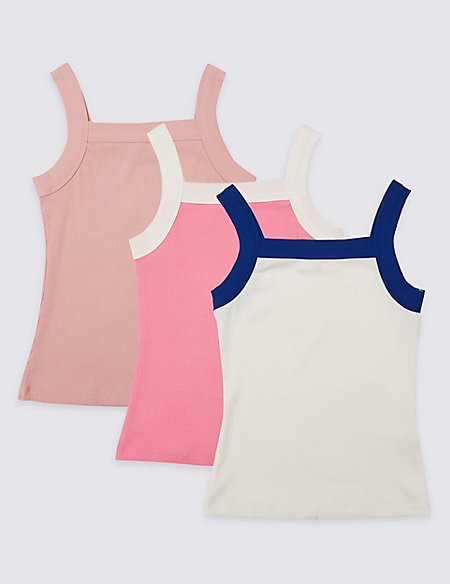 3 Pack Cotton Vest Tops with Stretch (3-16 Years)