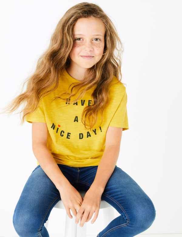 Girls Yellow T Shirts & Tops   Buy Kids Plain & Gold Top  M&S