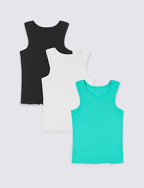 3 Pack Cotton Vests with Stretch (3-16 Years)
