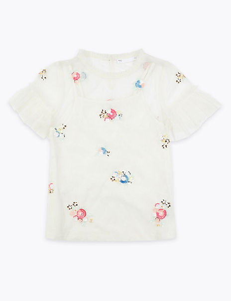 Floral Sequin Blouse (6-16 Years)