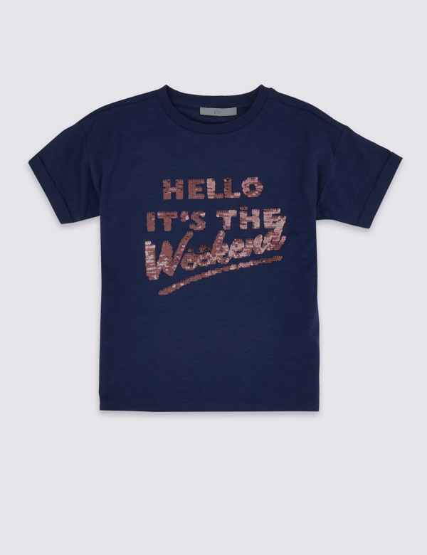 cb79a49bde3 Pure Cotton Hello Weekend T-Shirt (3-16 Years)