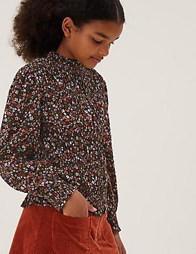 Floral Print Shirred Blouse (6-16 Yrs)