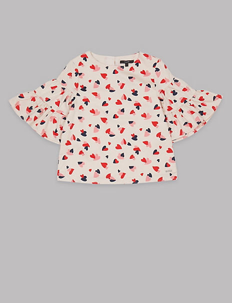 Pure Cotton Heart Woven Top (3-16 Years)