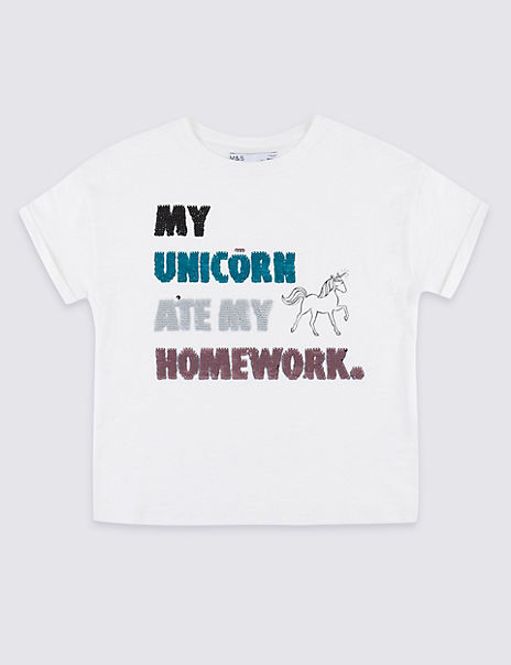 Pure Cotton Unicorn T-Shirt (3-16 Years)