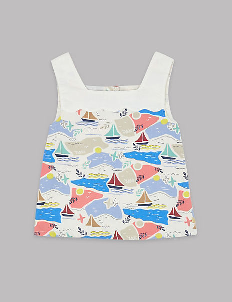 Pure Cotton Sail Boat Print Top (3-16 Years)