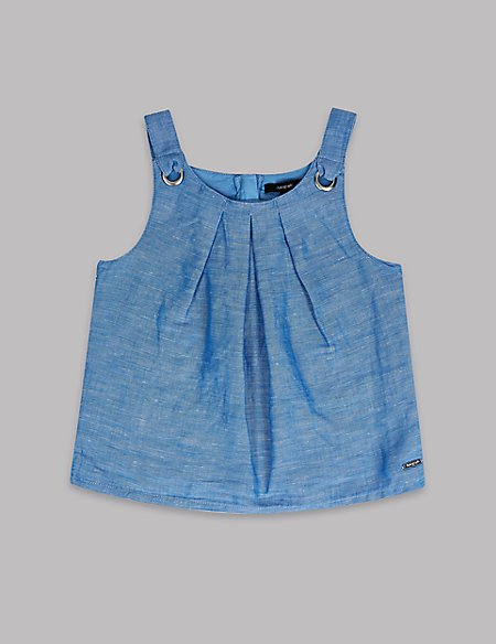 Linen Blend Chambray Top (3-16 Years)