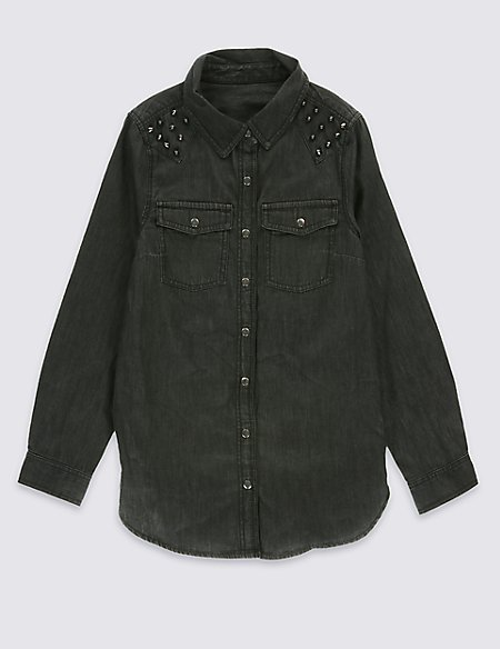 Pure Cotton Denim Shirt with StayNEW™ (5-14 Years)