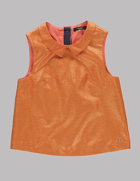 Metallic Effect Bow Blouse (5-14 Years)