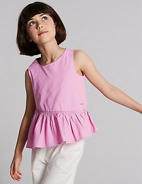 Frill Hem Pure Cotton Top (3-16 Years)