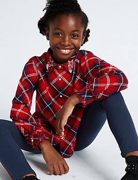 Pure Cotton Checked Blouse (3-16 Years)