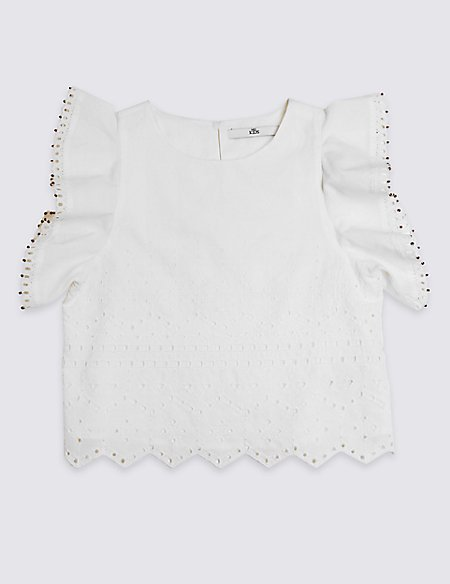 Pure Cotton Broderie Top (3-16 Years)