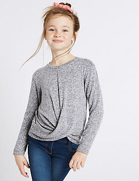 Tie Front Top (3-16 Years), NAVY, catlanding