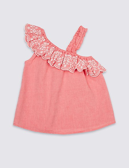 Pure Cotton One Shoulder Top (3-16 Years)