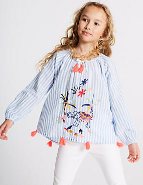 Stripe Embroidered Top (3-16 Years)