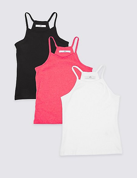3 Pack Cotton Rich Vest Tops (3-16 Years)