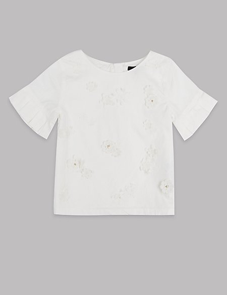 Pure Cotton Lace Flower Top (3-16 Years)