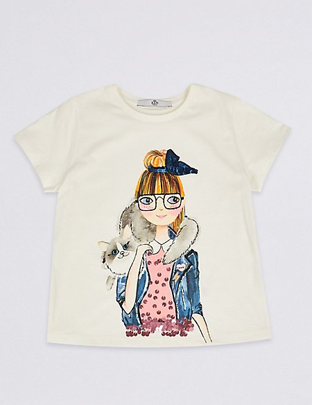 Pure Cotton Cat Girl Top (3-16 Years)