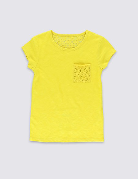 Pure Cotton Lace Pocket T-Shirt with StayNEW™ (5-14 Years)