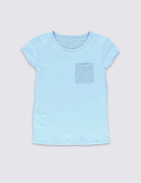 Pure Cotton Lace Pocket T-Shirt (5-14 Years)