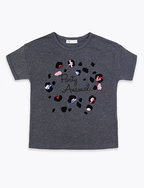 Cotton Party Animal Slogan T-Shirt (3-16 Years)
