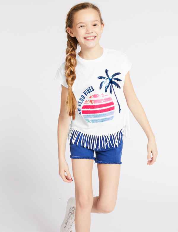 da2cd143af9 Pure Sequin Cotton T-Shirt (3-16 Years)