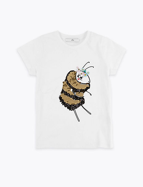 Pure Cotton Bee Sequin T-Shirt (3-16 Years)