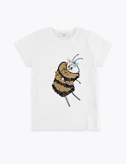 c9a1bd24c48 Pure Cotton Bee Sequin T-Shirt (3-16 Years)