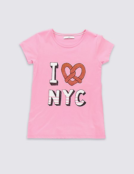Pure Cotton Pretzel Print T-Shirt (5-14 Years)