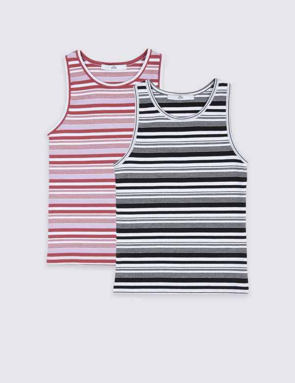 f188d6dc5 2 Pack Cotton Striped Vests with Stretch (3-16 Years)