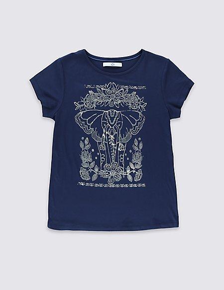 Elephant Print T-Shirt (5-14 Years)