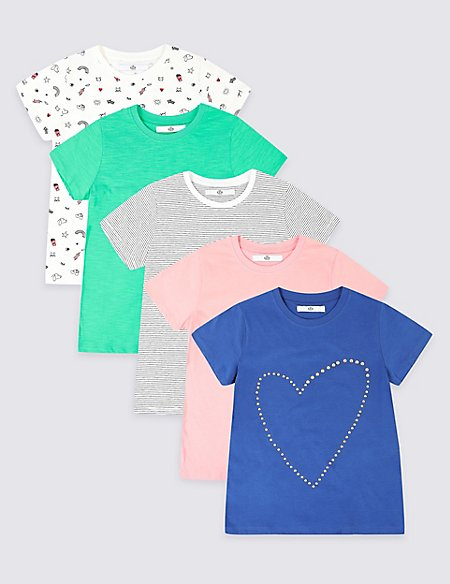 5 Pack Pure Cotton T-Shirts (3-16 Years)