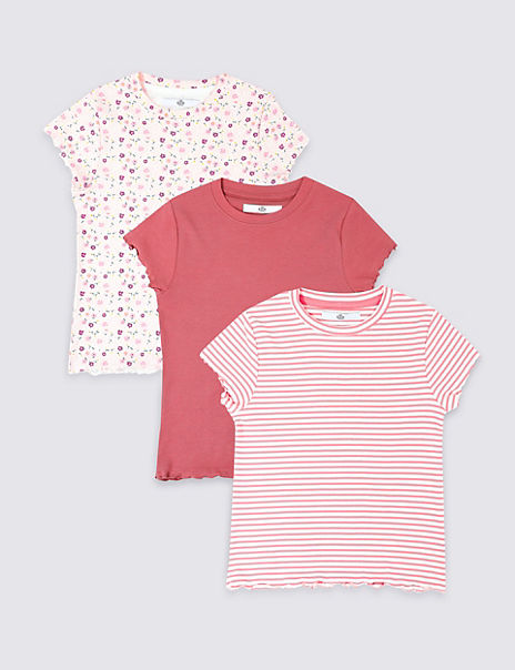 3 Pack Cotton T-Shirts with Stretch (3-16 Years)