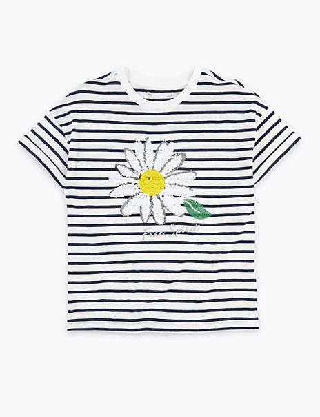 Reversible Sequin Daisy T-Shirt (6-16 Years)