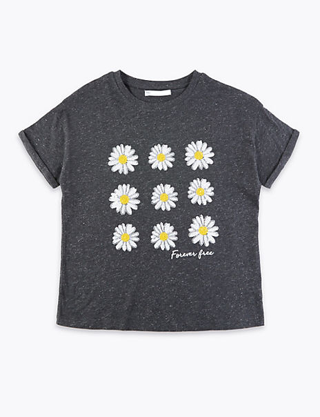 Cotton Rich Sequinned Daisy T-Shirt (6-16 Years)