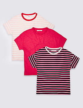 3 Pack Striped T-Shirts (3-16 Years)