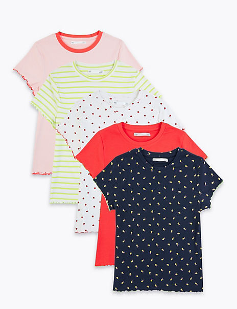 5 Pack Cotton Rich Patterned T-Shirts (6-16 Yrs)