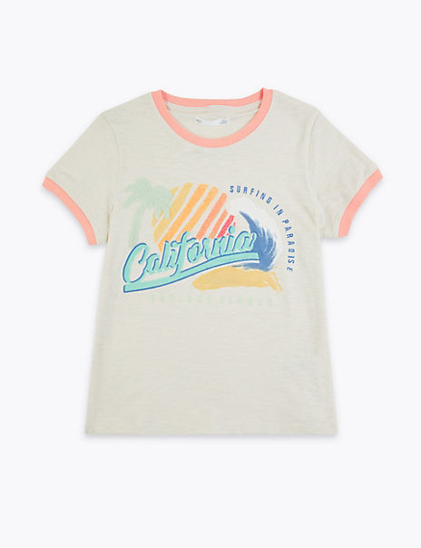 Cotton California Slogan T-Shirt (6-16 Years)