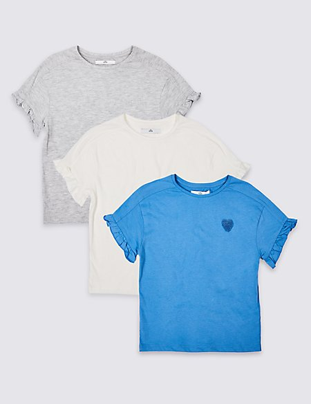 3 Pack Frill Sleeve T-Shirt (3-16 Years)