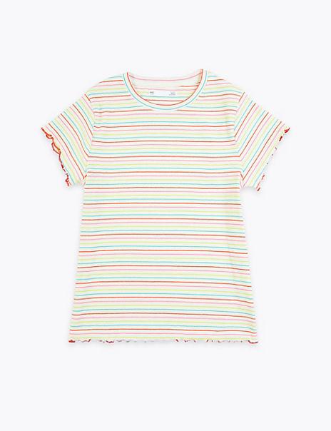 Cotton Rich Rainbow Striped T-Shirt (6-16 Years)