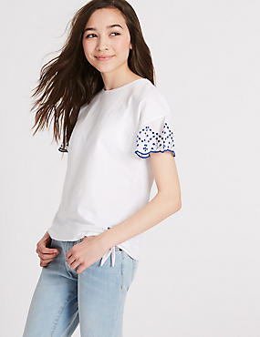 Broderie Sleeve Pure Cotton Top (3-16 Years)