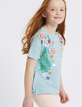 Pure Cotton Sequin Peacock Top (3-16 Years)