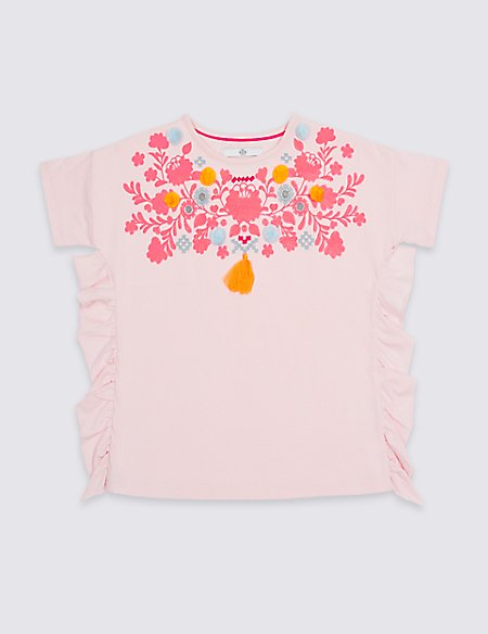 Pure Cotton Embellished Frill Top (3-16 Years)