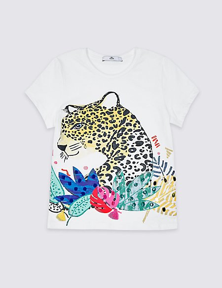 Pure Cotton Leopard T-Shirt (3-16 Years)