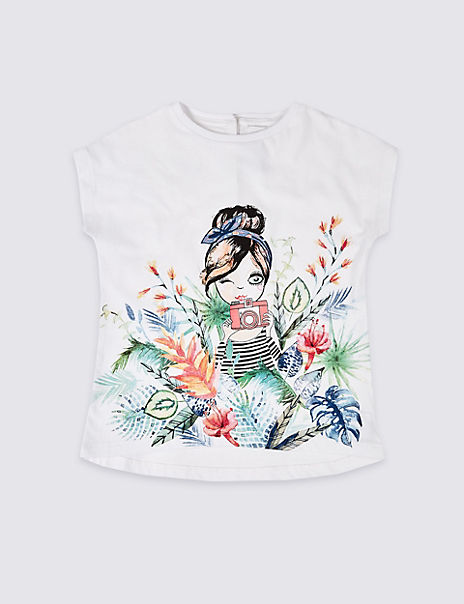 Pure Cotton Easy Dressing Girl T-Shirt (3-16 Years)